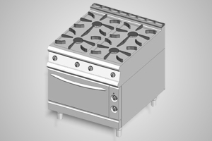Baron oven range 4 burner 700 Series - Model 7PCF/G8005