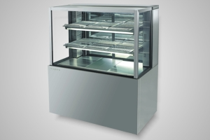 Skope cake display 1200 square glass refrigerated - Model FDM1200