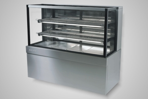 Skope cake display 1500 square glass refrigerated - Model FDM1500
