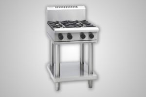 Waldorf gas cooktop with 600mm griddle on leg stand - Model RN8406G-LS