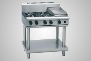 Waldorf 4 burner gas cooktop extra wide on leg stand - Model RN8900G-LS