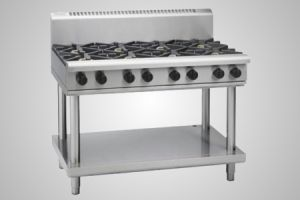 Waldorf 8 burner gas cooktop on leg stand - Model RN8800G-LS