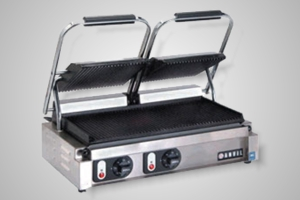 Anvil panini press double head - Model TSS3000 (ribbed top flat bottom)