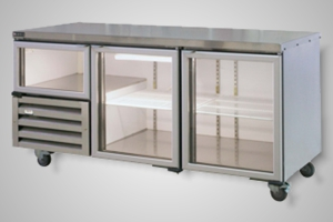 Anvil under bench fridge 2.5 glass doors - Model UBG1800